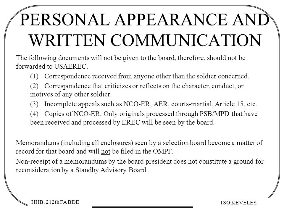 PERSONAL APPEARANCE AND WRITTEN COMMUNICATION
