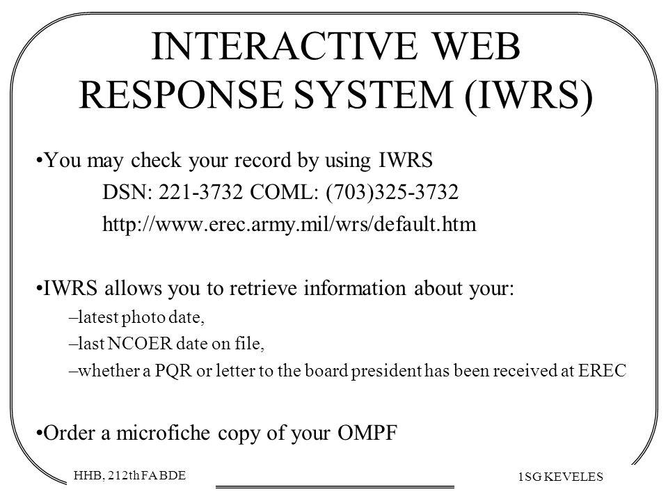 INTERACTIVE WEB RESPONSE SYSTEM (IWRS)