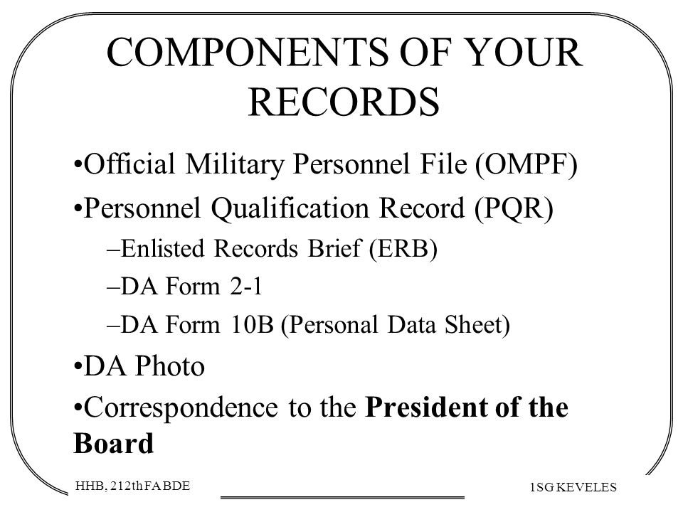 COMPONENTS OF YOUR RECORDS