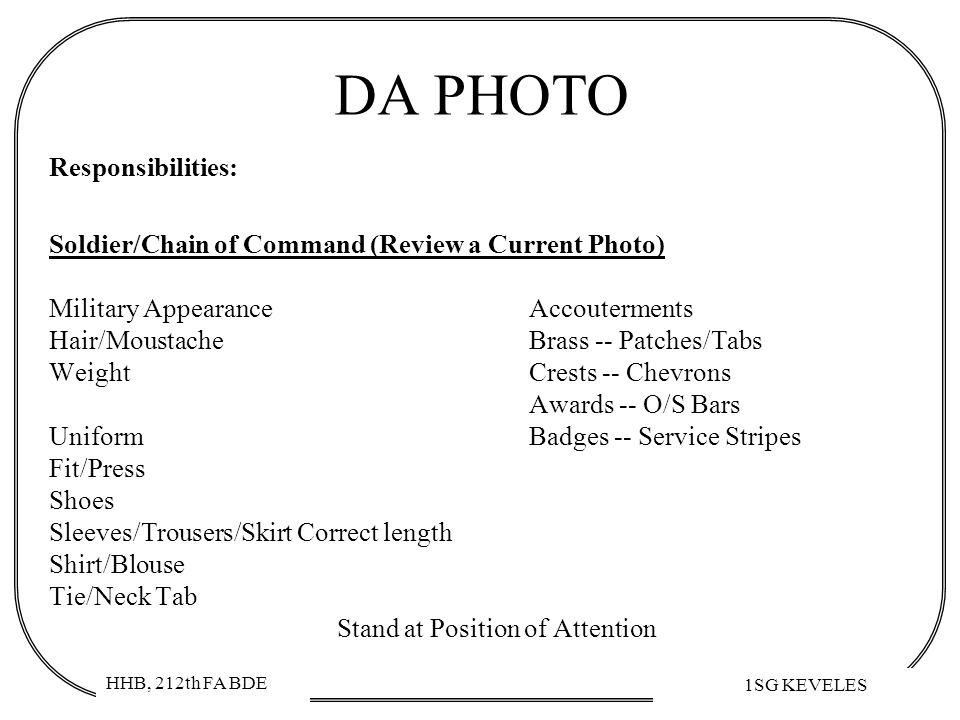 DA PHOTO Responsibilities: