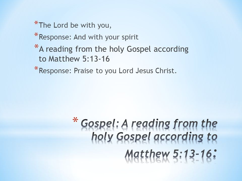 Gospel: A reading from the holy Gospel according to Matthew 5:13-16: