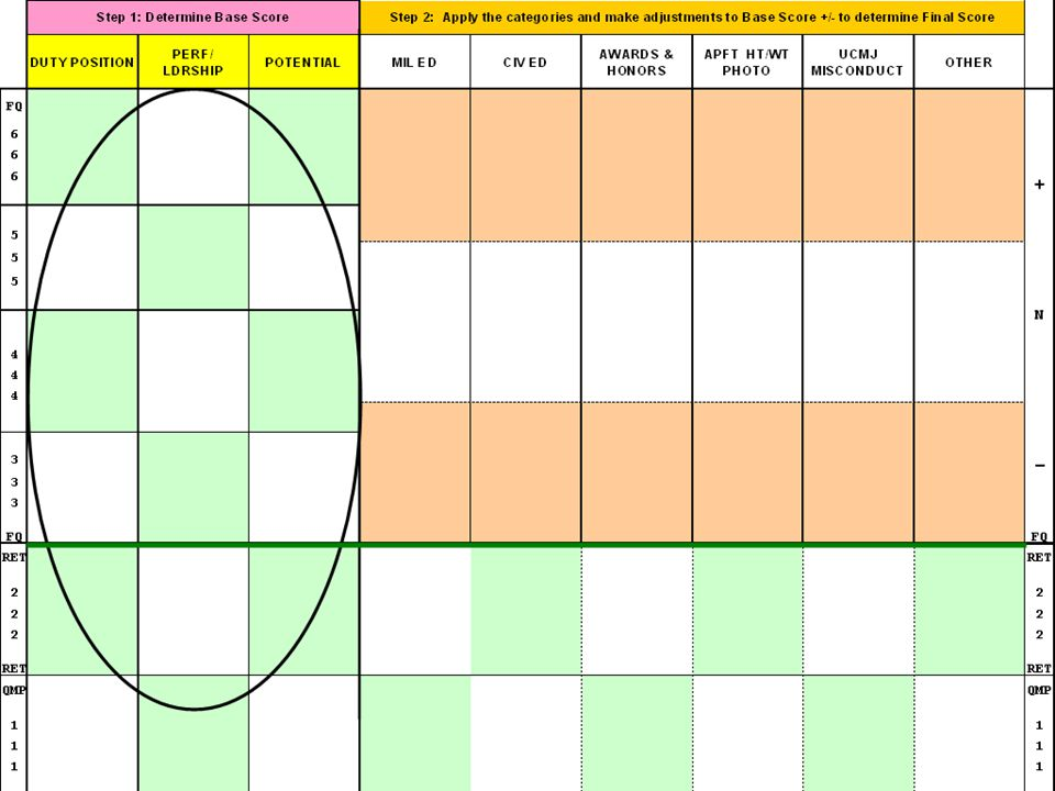 Worksheet: This is the document Panels use to set their panel standards.