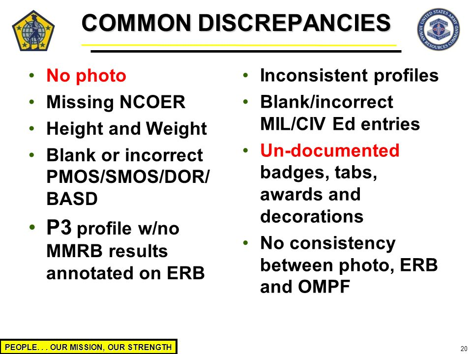 COMMON DISCREPANCIES P3 profile w/no MMRB results annotated on ERB