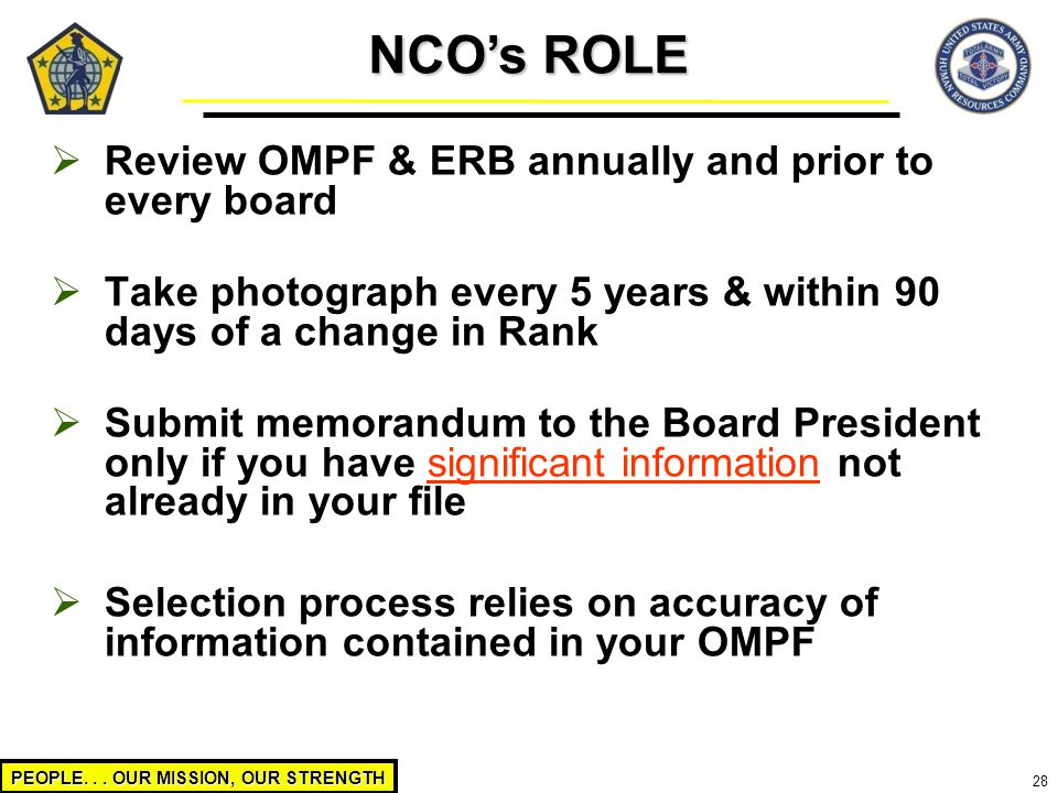 NCO's ROLE Review OMPF & ERB annually and prior to every board