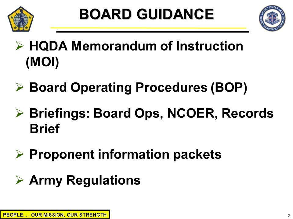 BOARD GUIDANCE HQDA Memorandum of Instruction (MOI)