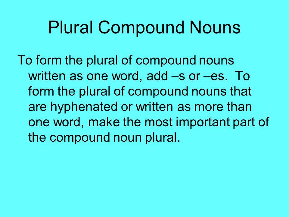 Plural Compound Nouns