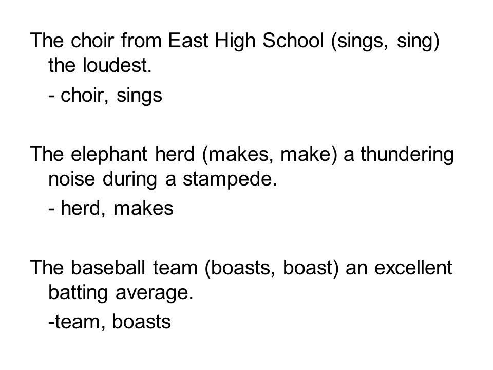 The choir from East High School (sings, sing) the loudest.