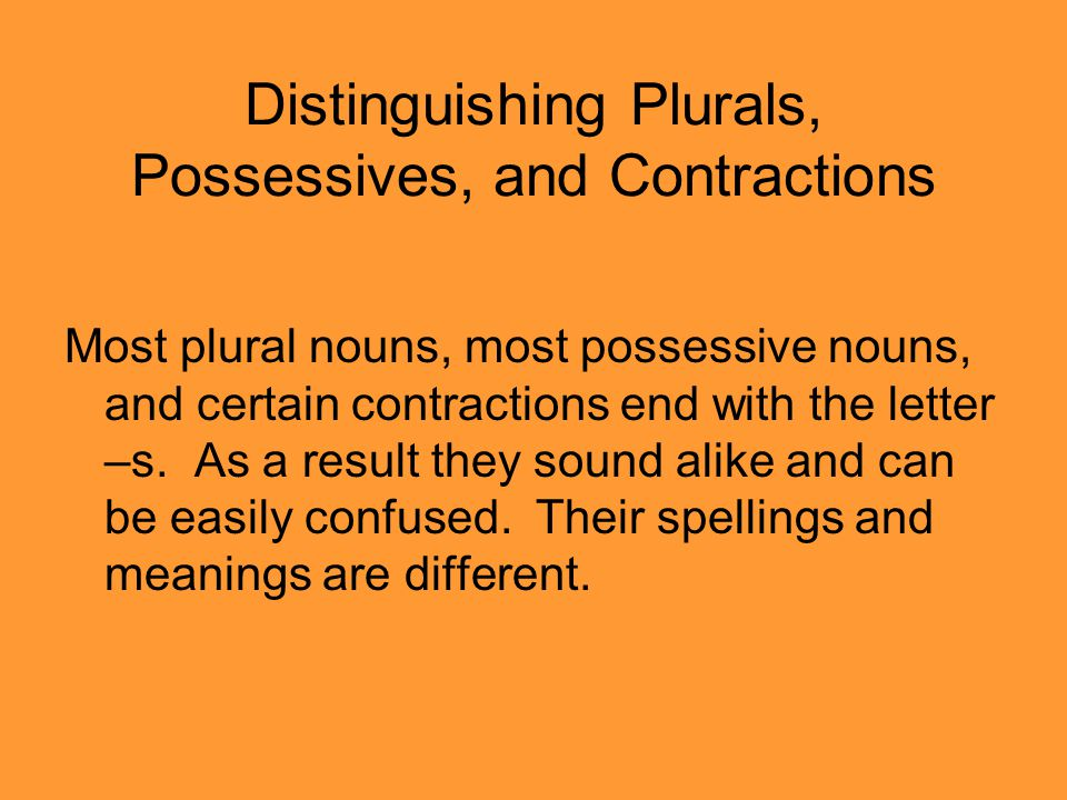 Distinguishing Plurals, Possessives, and Contractions