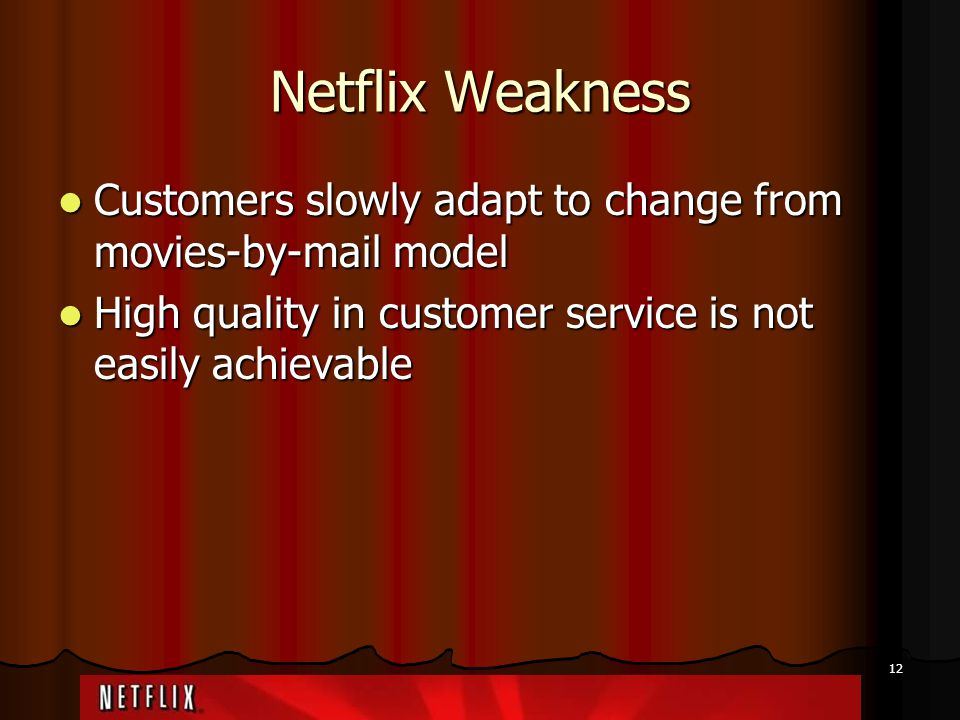 Netflix Weakness Customers slowly adapt to change from movies-by-mail model.
