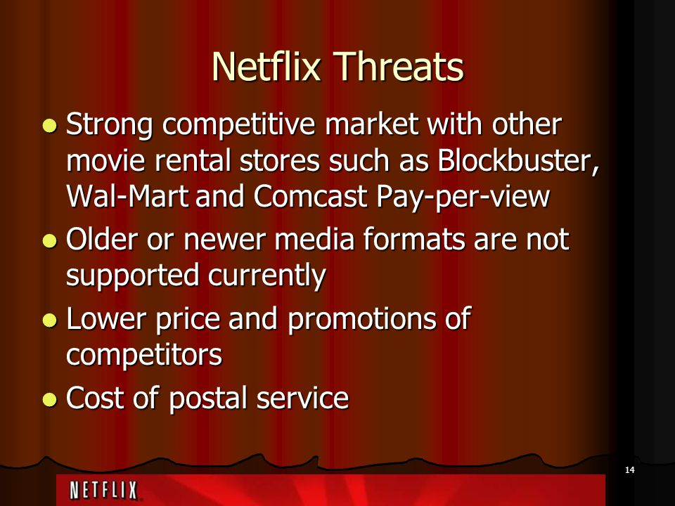 Netflix Threats Strong competitive market with other movie rental stores such as Blockbuster, Wal-Mart and Comcast Pay-per-view.