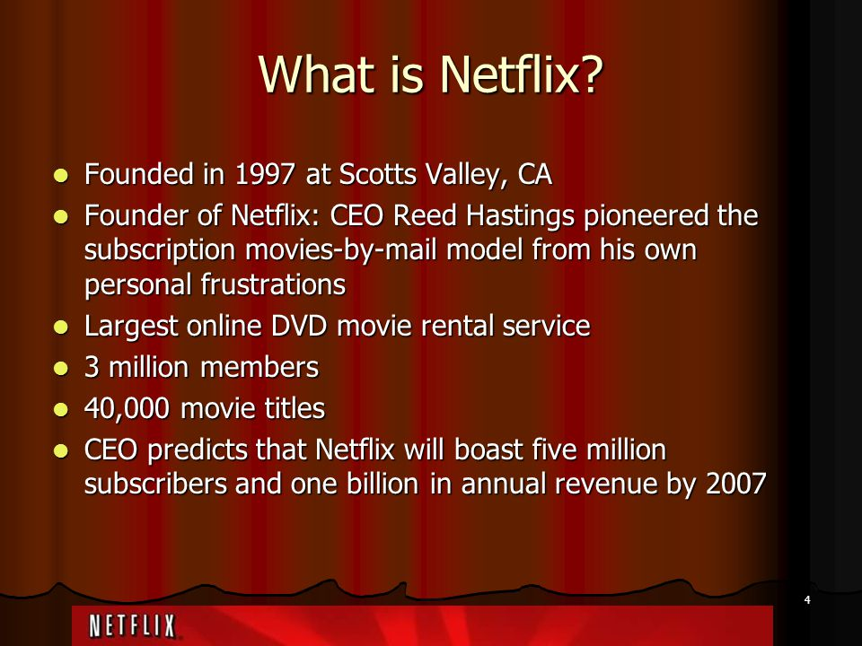 What is Netflix Founded in 1997 at Scotts Valley, CA