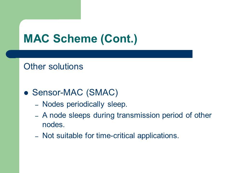 MAC Scheme (Cont.) Other solutions Sensor-MAC (SMAC)