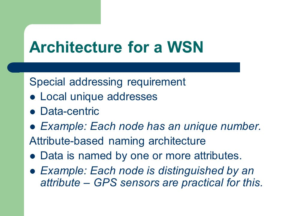 Architecture for a WSN Special addressing requirement