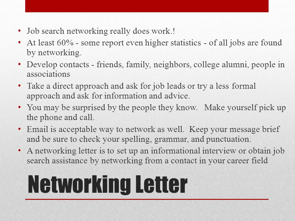 Networking Letter Job search networking really does work.!