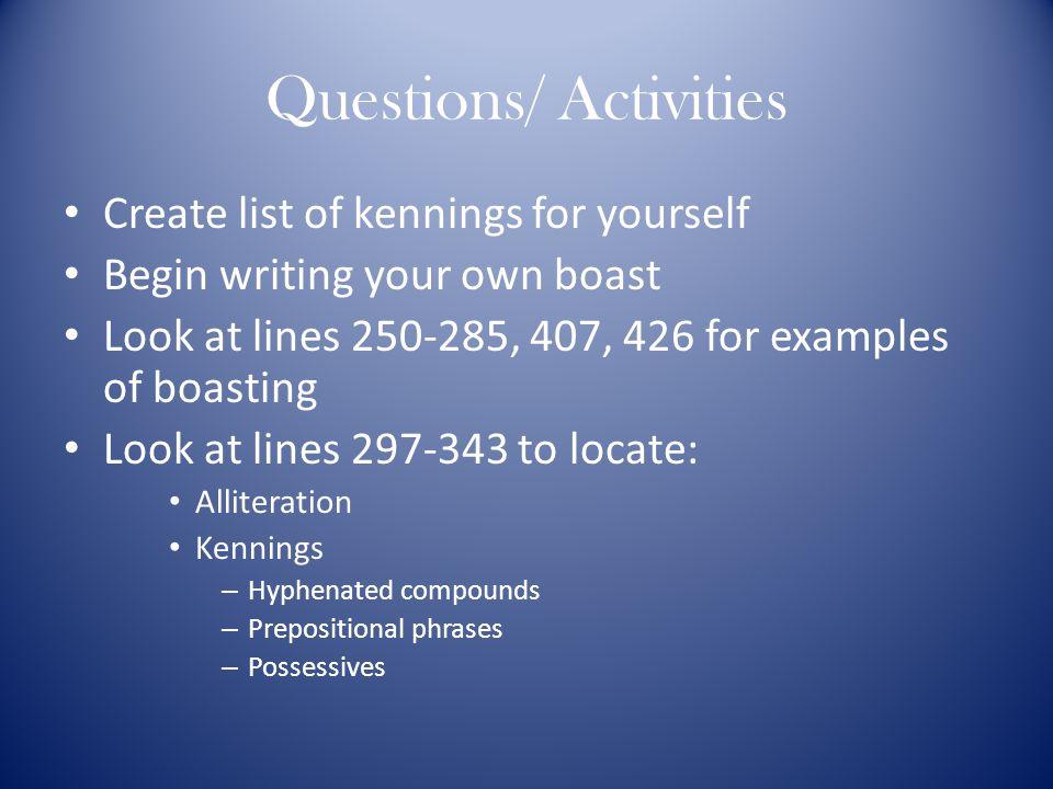 Questions/ Activities