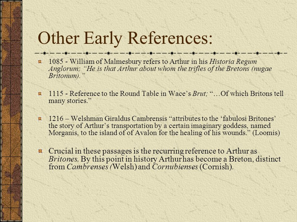 Other Early References: