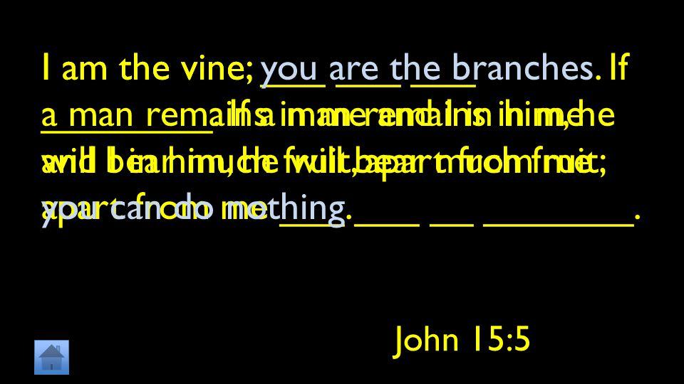 I am the vine; ___ ___ ___ ________