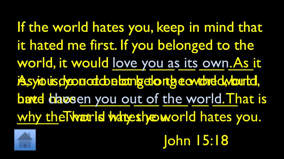 If the world hates you, keep in mind that it hated me first