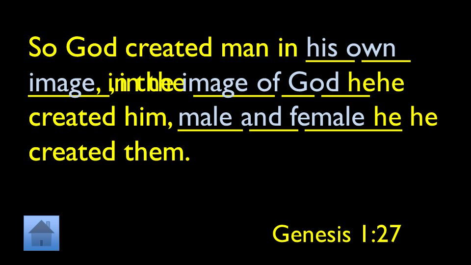 So God created man in ___ ___ _____, in the _____ __ ___ he created him, ____ ___ ______ he created them.