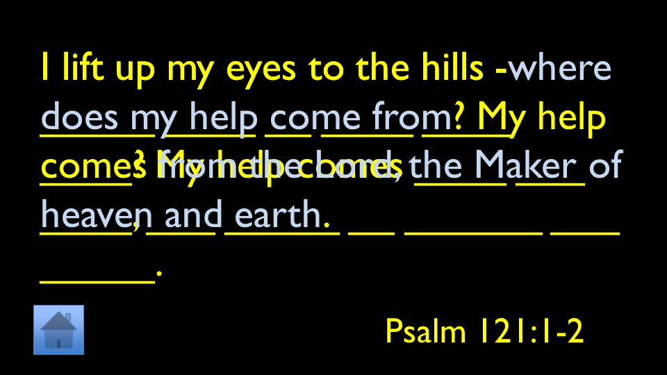 I lift up my eyes to the hills - _____ ____ __ ____ ____ ____