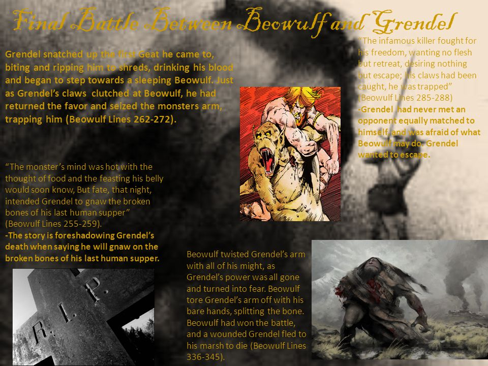 Final Battle Between Beowulf and Grendel