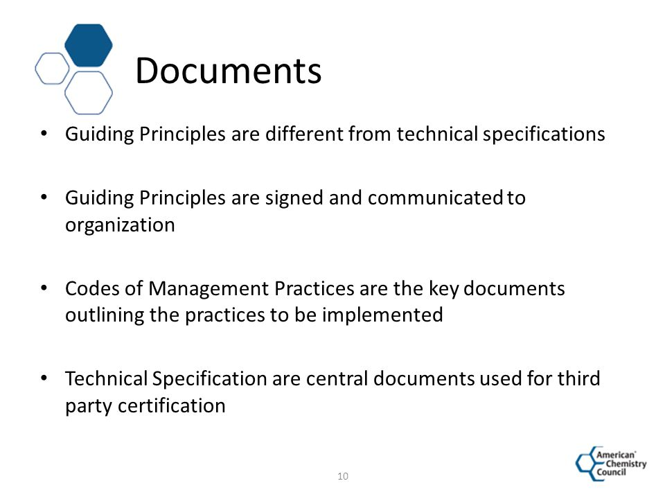Documents Guiding Principles are different from technical specifications. Guiding Principles are signed and communicated to organization.