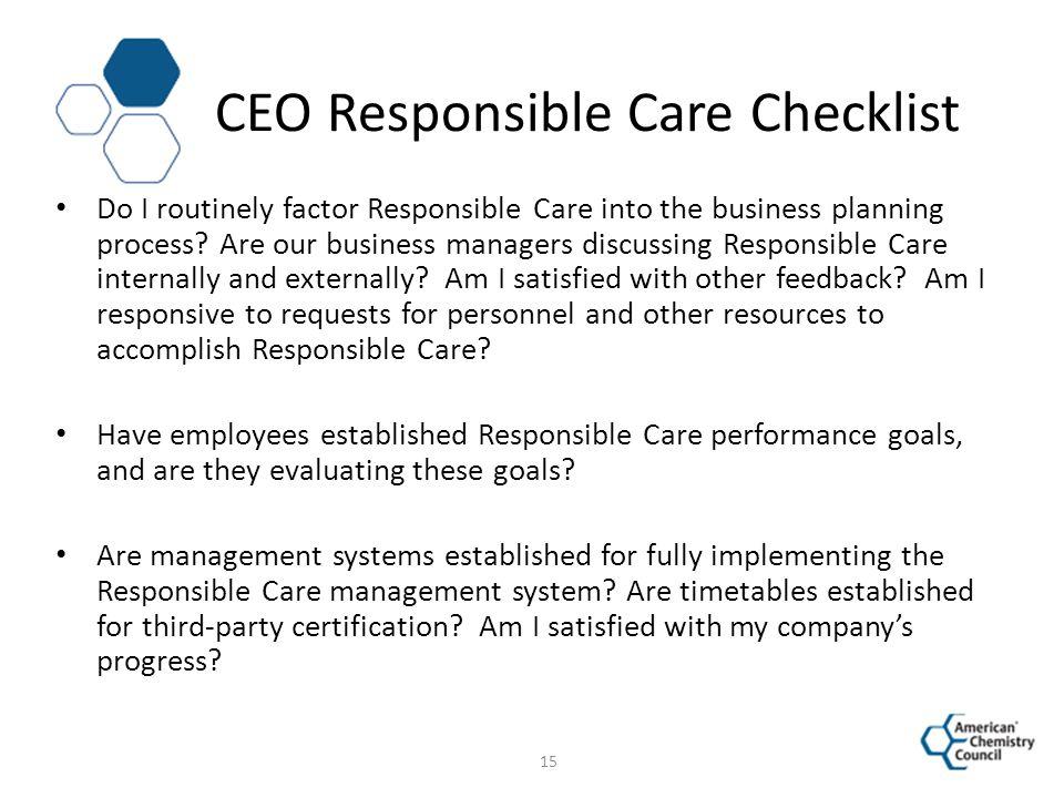 CEO Responsible Care Checklist