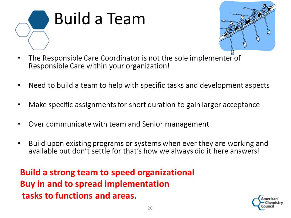 Build a Team Build a strong team to speed organizational