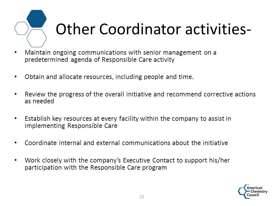 Other Coordinator activities-