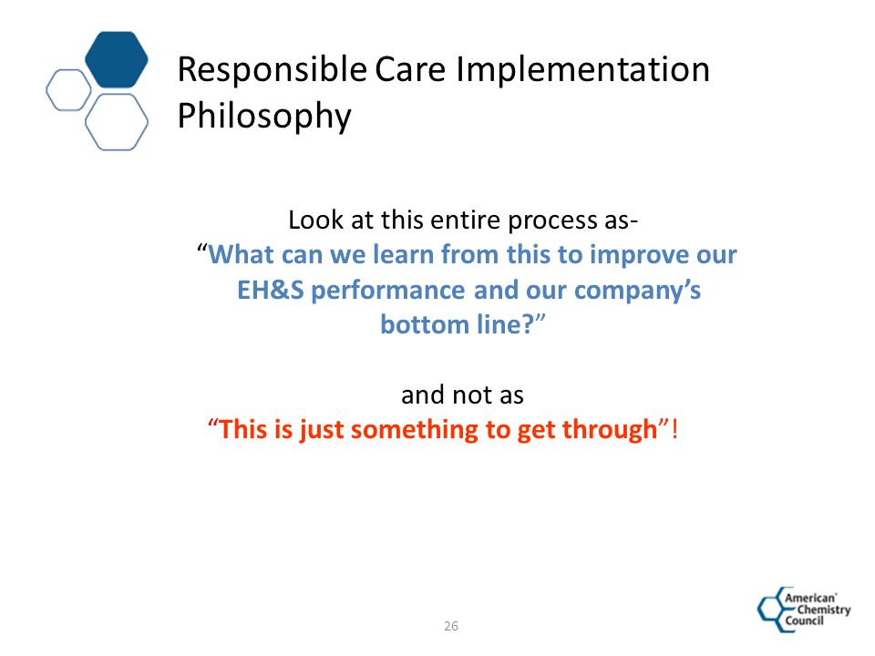 Responsible Care Implementation Philosophy