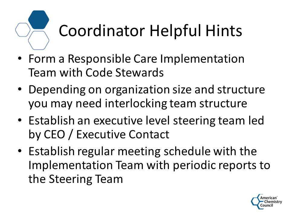 Coordinator Helpful Hints