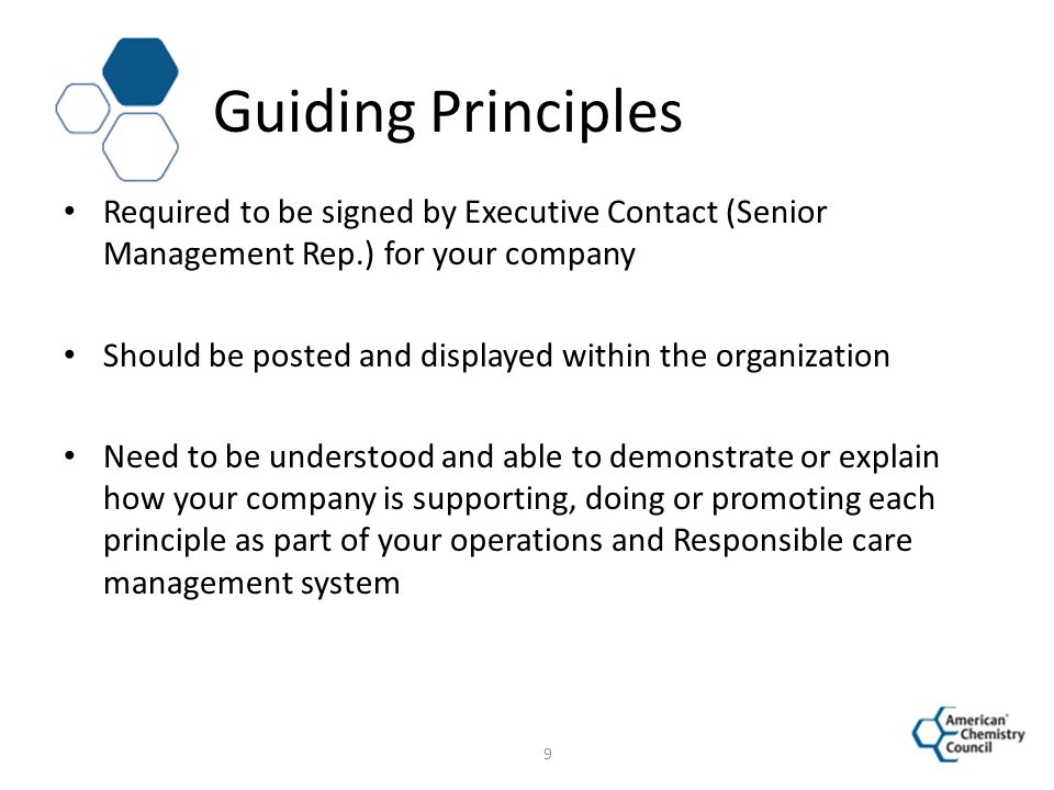 Guiding Principles Required to be signed by Executive Contact (Senior Management Rep.) for your company.