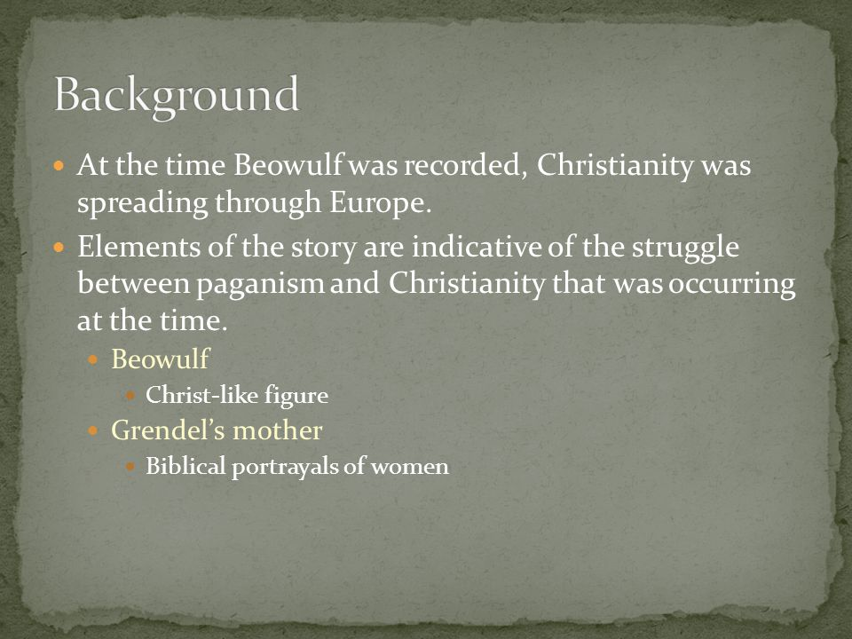 Background At the time Beowulf was recorded, Christianity was spreading through Europe.