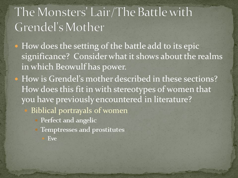 The Monsters Lair/The Battle with Grendel s Mother