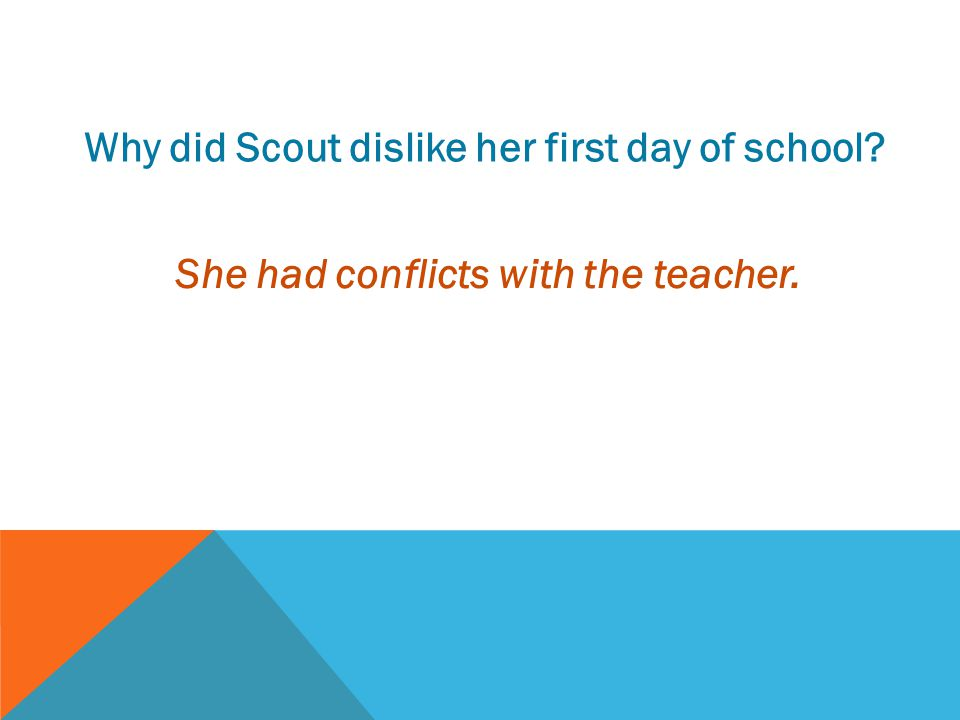 Why did Scout dislike her first day of school