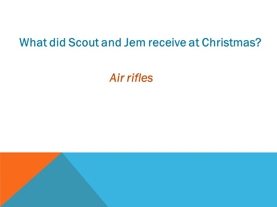 What did Scout and Jem receive at Christmas
