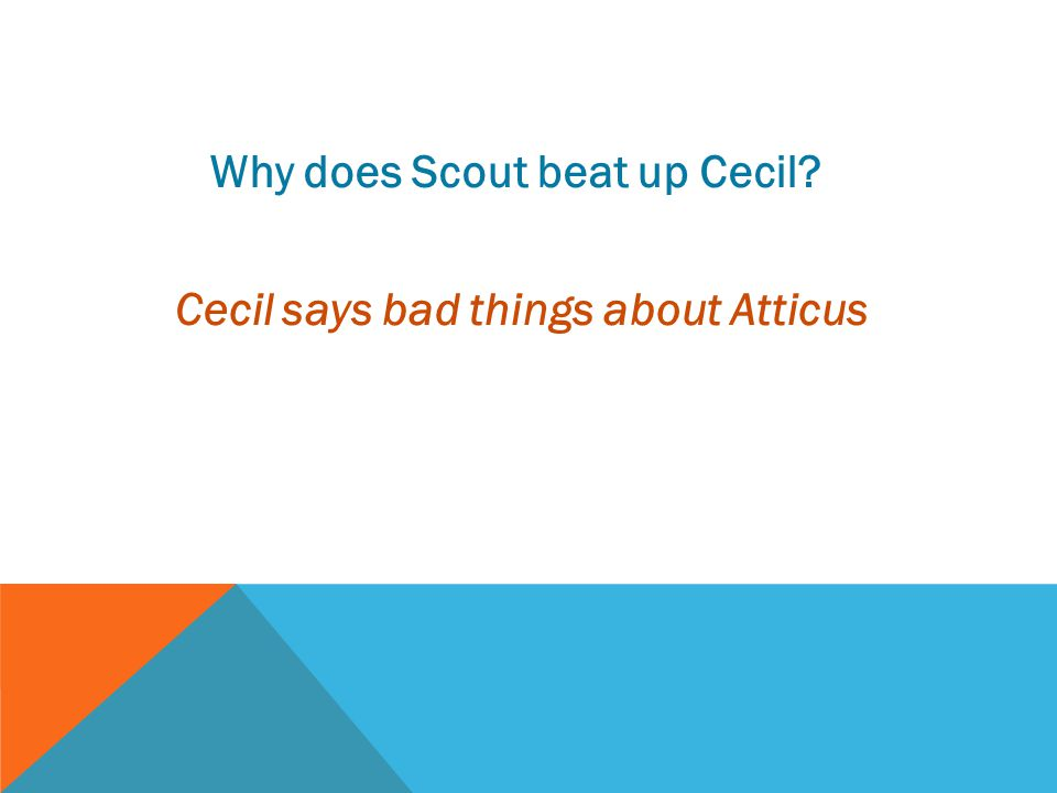 Why does Scout beat up Cecil