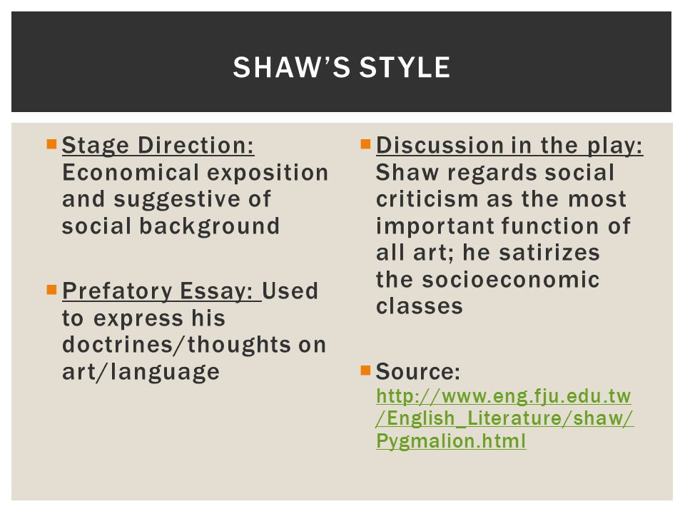 Shaw's style Stage Direction: Economical exposition and suggestive of social background.