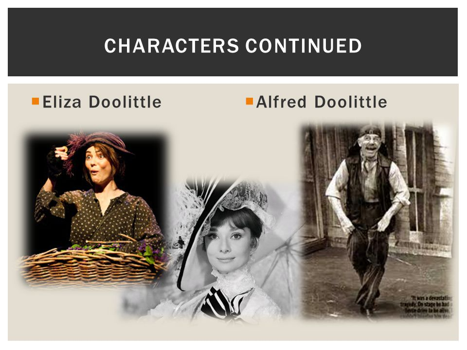 Characters continued Eliza Doolittle Alfred Doolittle
