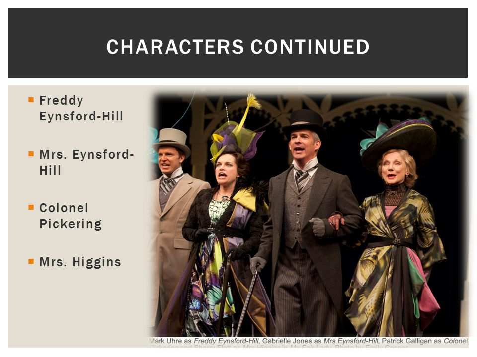 Characters continued Freddy Eynsford-Hill Mrs. Eynsford-Hill