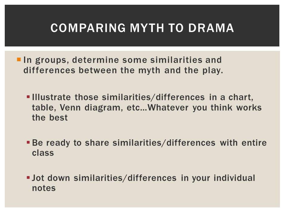 Comparing myth to drama