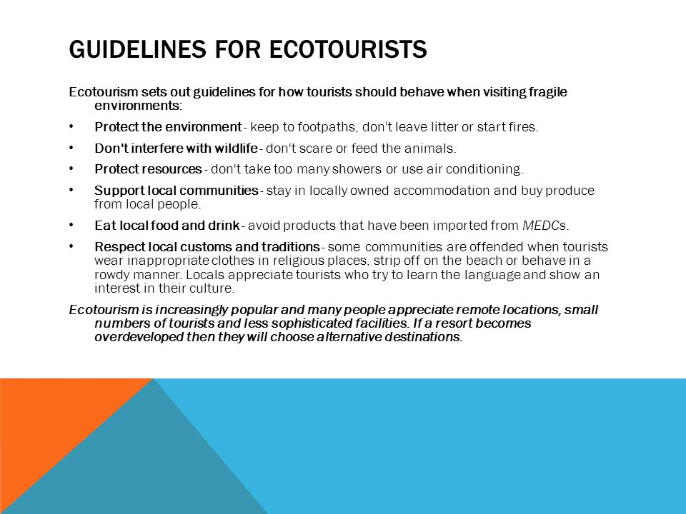 Guidelines for ecotourists