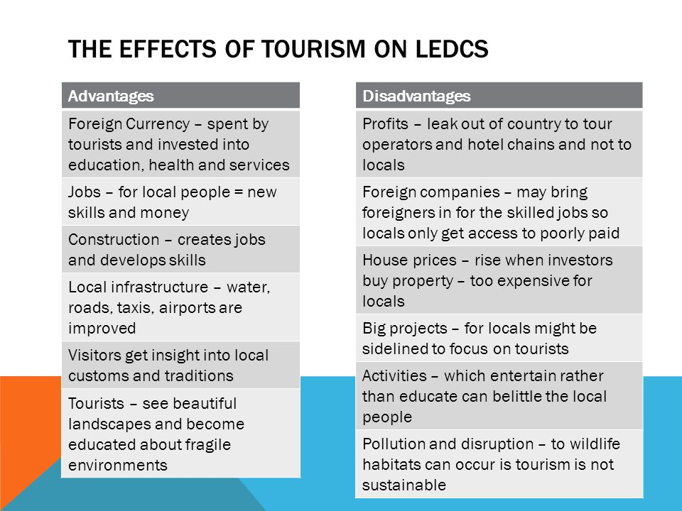 tourism in ledcs essay Igcse and gcse tourism specification:  currently the majority of international tourists go to medcs, but many ledcs are also seeing rapid growth in tourism.