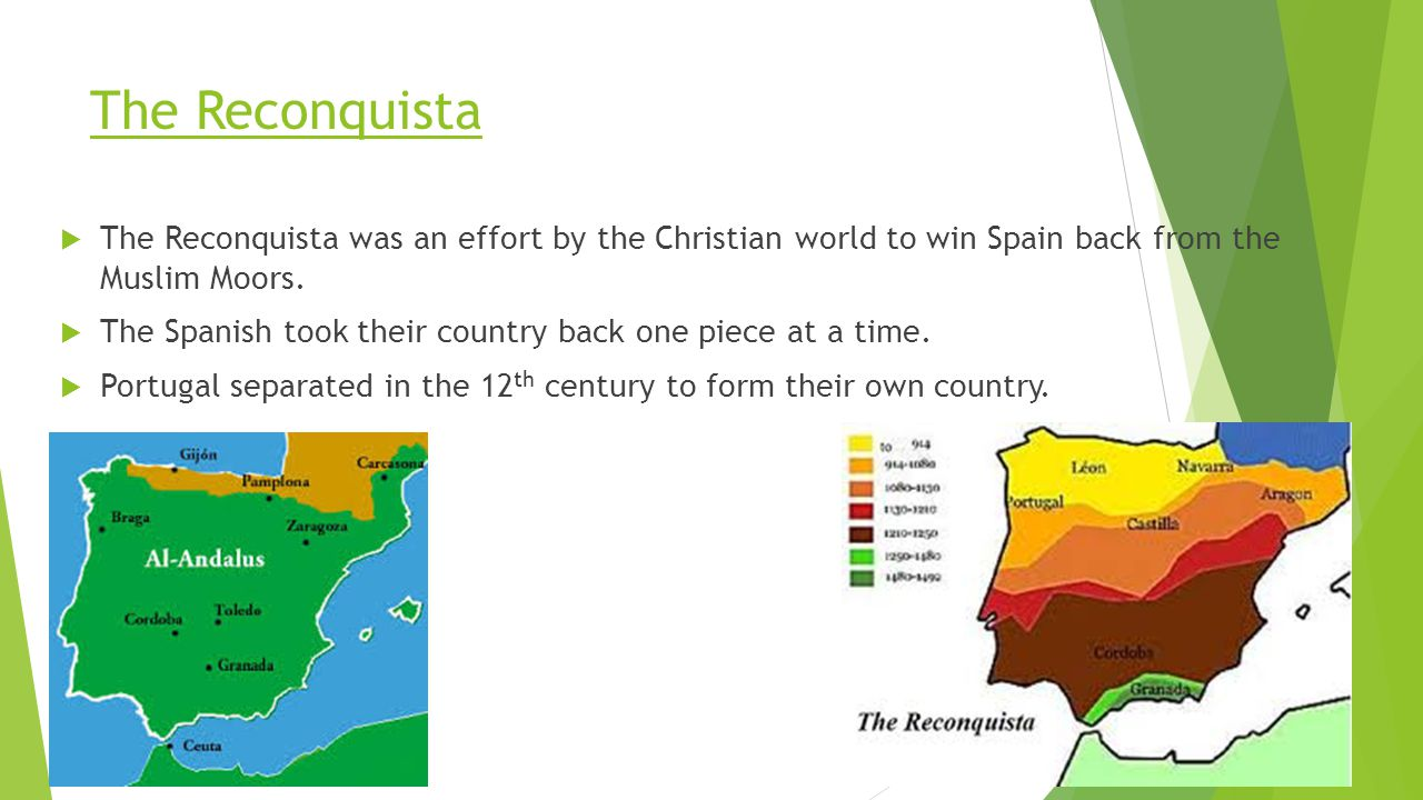The Reconquista The Reconquista was an effort by the Christian world to win Spain back from the Muslim Moors.