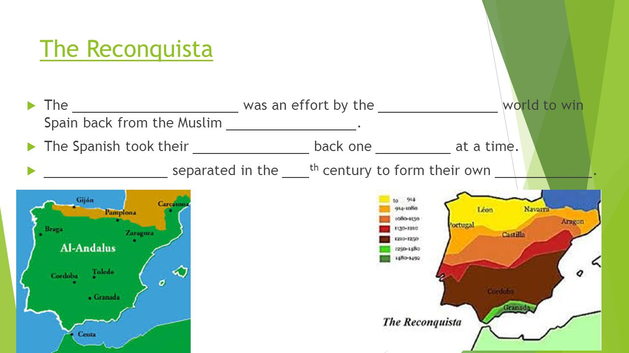 The Reconquista The was an effort by the world to win Spain back from the Muslim .
