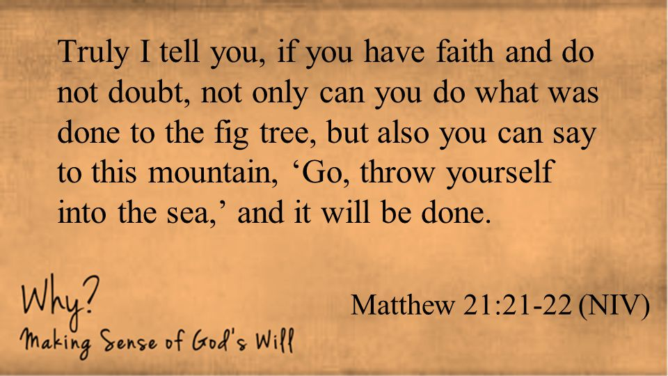 Truly I tell you, if you have faith and do not doubt, not only can you do what was done to the fig tree, but also you can say to this mountain, 'Go, throw yourself into the sea,' and it will be done.