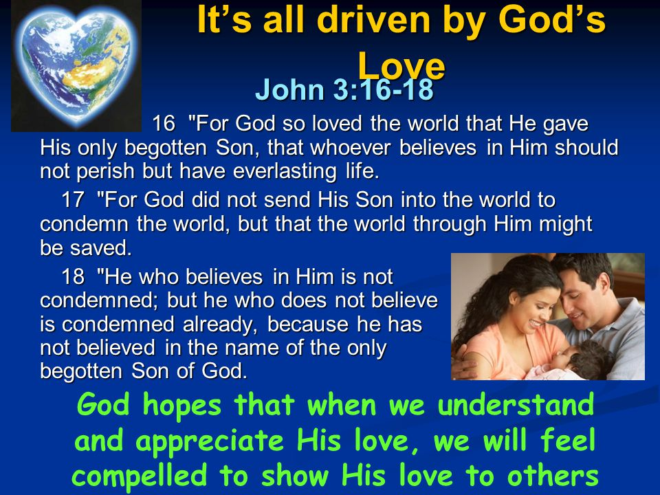 It's all driven by God's Love