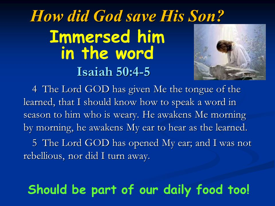 Immersed him in the word Should be part of our daily food too!