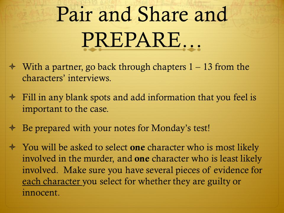 Pair and Share and PREPARE…
