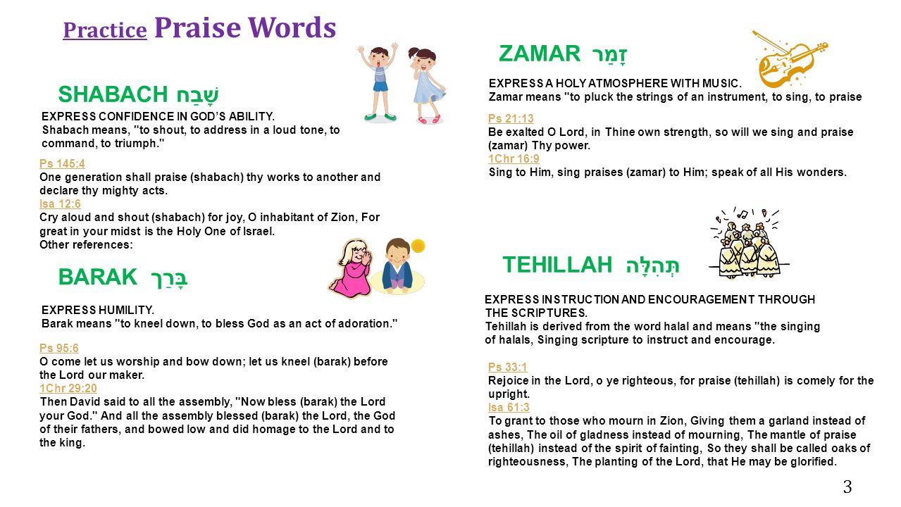 Practice Praise Words ZAMAR זָמַר SHABACH שָׁבַח TEHILLAH תְּהִלָּה
